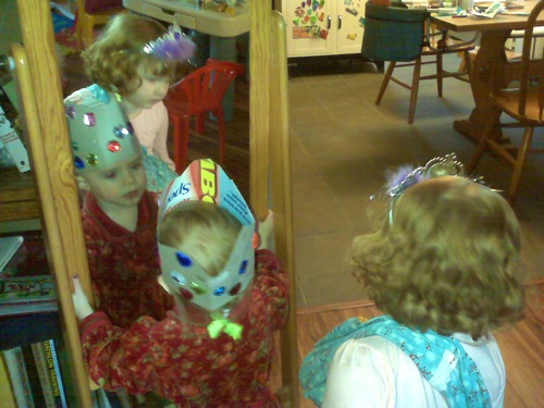 two little girls dressed up as princesses