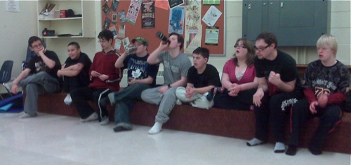 Jewles' drama class - all the students in a row