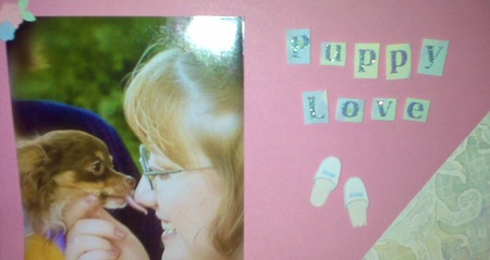Puppy Love, portion of a scrapbook page