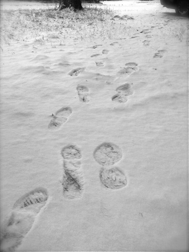 father's and daughter's footprints in the snow