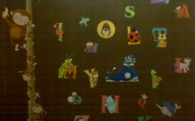The animal alphabet on the wee girlie's wall