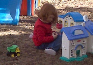 playing with little people in the front yard