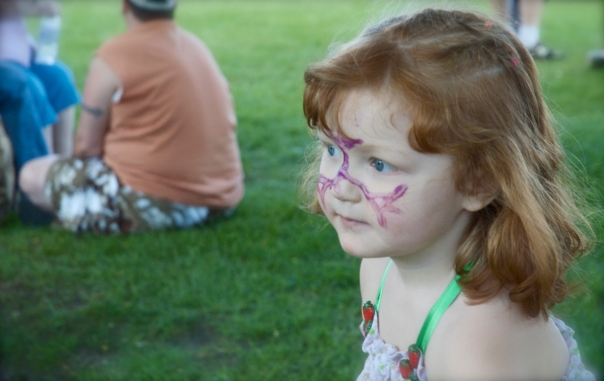 "Lily-Ann with her ""princess spider man"" face paint.  LOL"