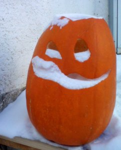 Jack-o-lantern in the snow