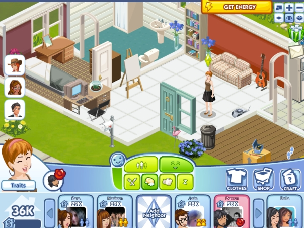 The Sims Social, a screenshot from the game on Facebook