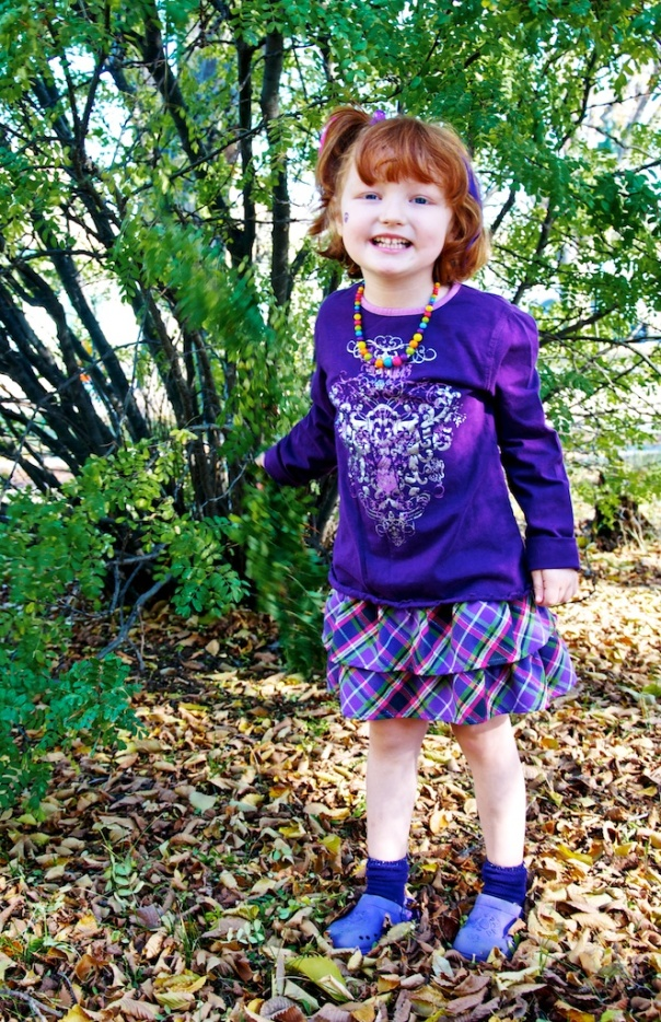 the girlie, totally rockin' the all-decked-out-in-purple look