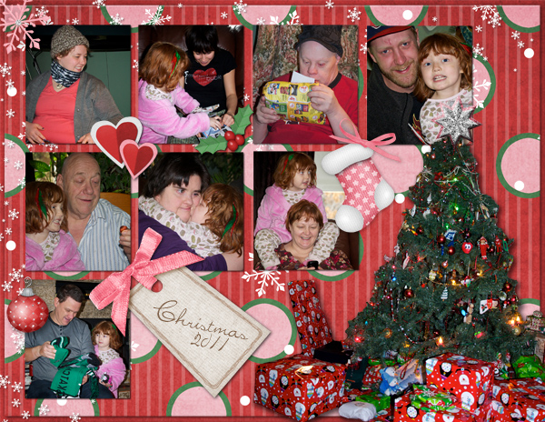 digital scrapbook layout featuring most of the Yandt clan on Christmas morning.