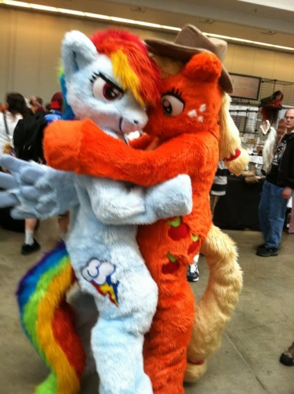 really creepy full body Rainbow Dash and Apple Jack furry cosplay costumes