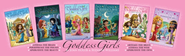 goddess girls bookmark - showing the covers for books one through six