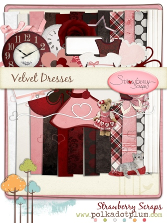 Velvet Dresses, a digital scrapbook kit by Strawberry Scraps