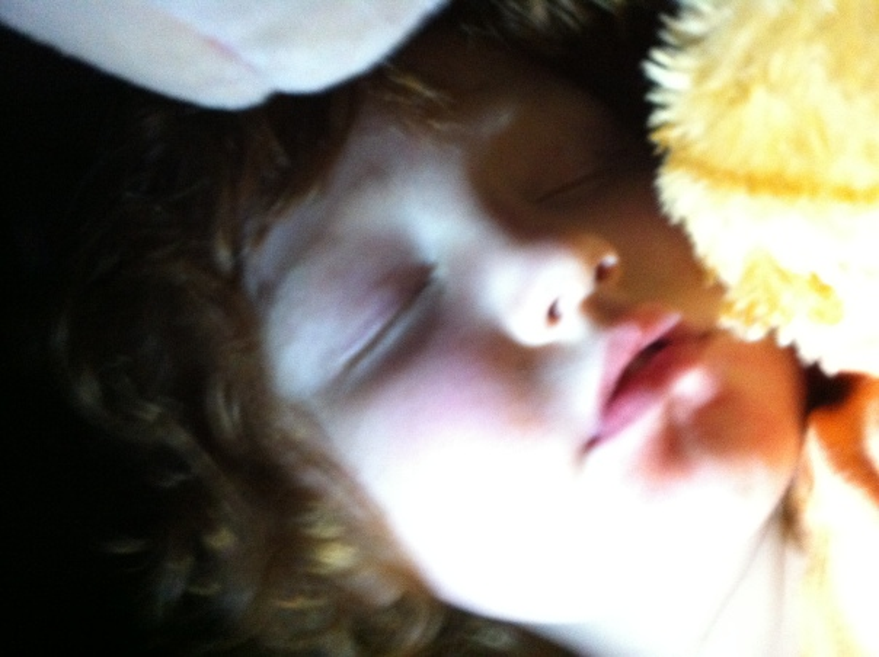 the wee girlie, fast asleep