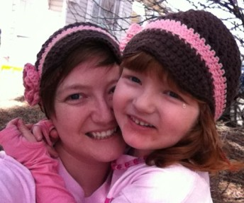 The girl and I, all dressed in matching outfits for Pink Revolution, the anti-bullying week here in Saskatchewan.