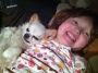 Awake, Asleep (pictures of a girl and achihuahua)
