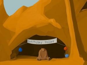 sad and lonely birthday bear