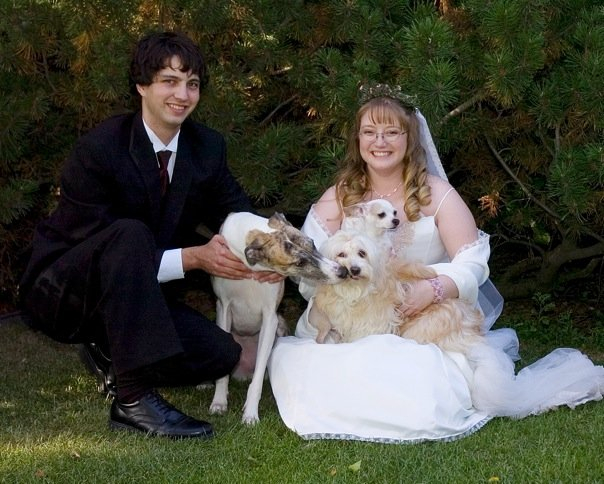 one of our wedding photos, with three of our dogs
