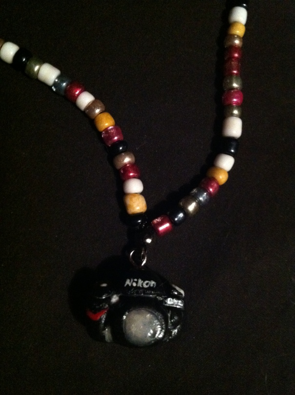 Nikon D90 necklace charm and beaded bamboo necklace