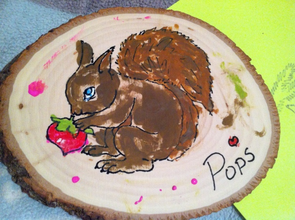 The finished plaque - a pretty painting for Father's Day of a delightful little red and brown squirrel.