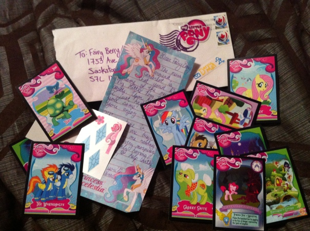 Derpy Mail for Fairy Berry (the girl's ponysona), direct from Princess Celestia!
