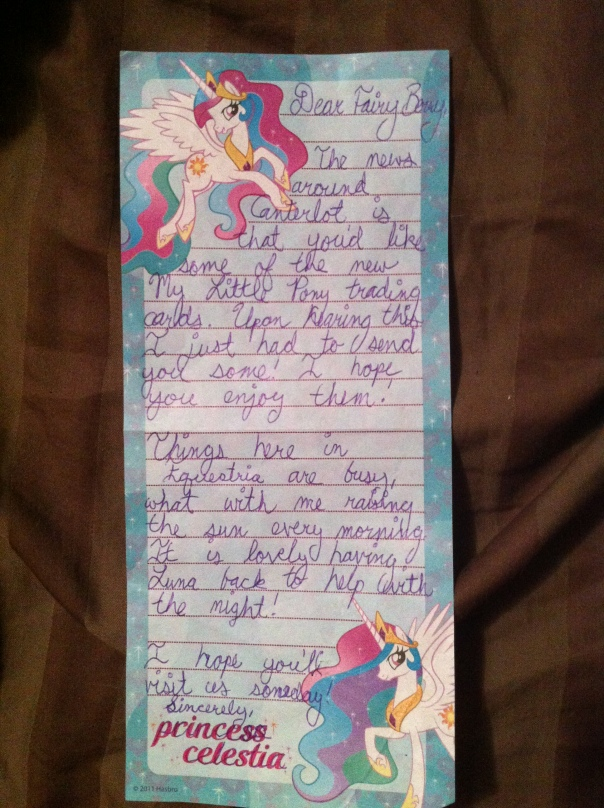 A hand-written letter from Princess Celestia