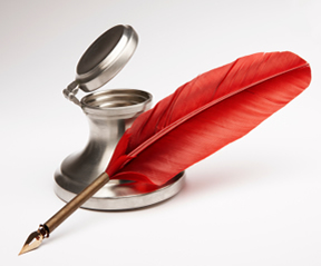 red quill and silver ink well
