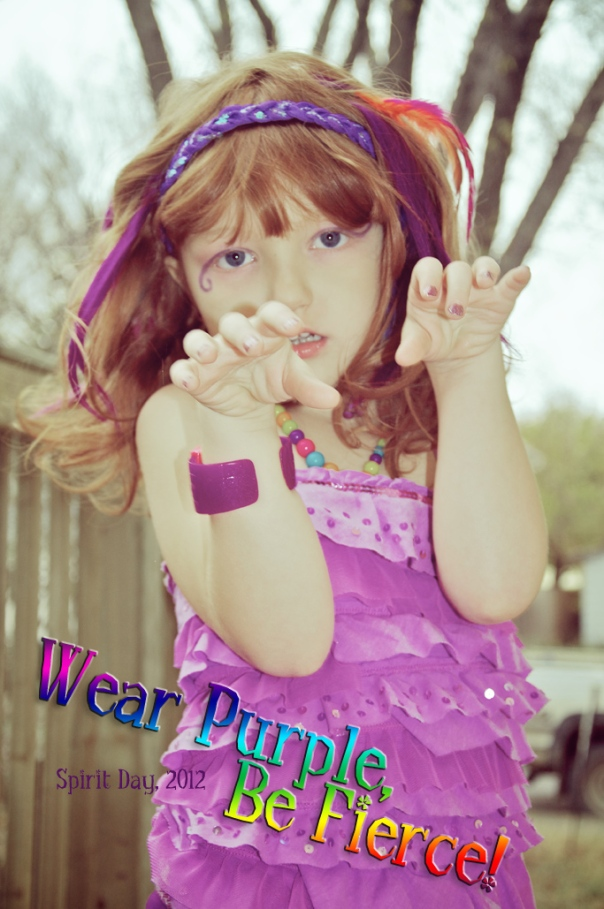 Wear Purple, Be Fierce - Spirit Day in memory of those who have lost their lives because of homophobic bullying.  Wear purple, send a message of hope.