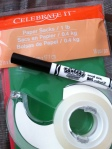 craft bags, a marker, and tape