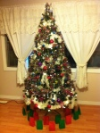 our yule tree, surrounded by the gift bags