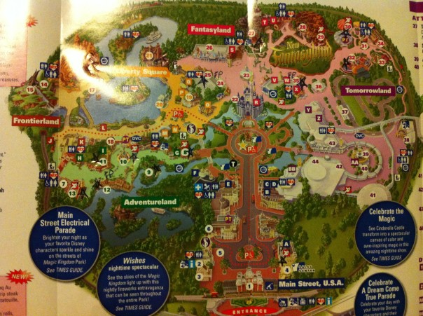 The Disney map, with all my notations on it.
