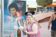 Me posing with Michael Jackson's Captain EO sign after checking it out. SOOO good!