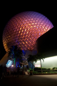 "The ""giant golfball"" lit up at night on our way out of the park."
