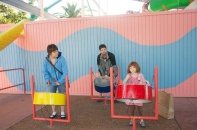 Playing steal drums in the kid zone.