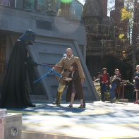 Lily-Ann bravely dueling Darth Vader.