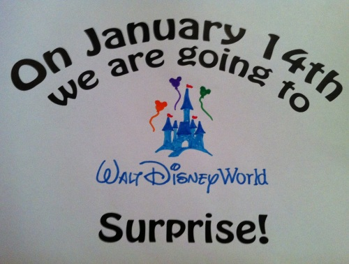 On January 14th we are going to Walt Disney World.  Surprise!